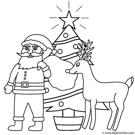 santa claus  rudolph  christmas tree coloring