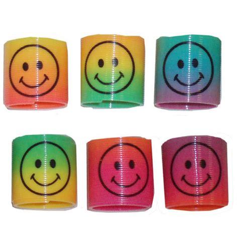 Import Bag Smiley 12pcs mini plastic slinky smiley springs rainbow