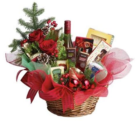 christmas gift basket flowers roses plants same day