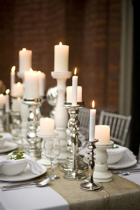 Candle Runner Centerpiece Wedding Table Decor Ideas With Candlesticks