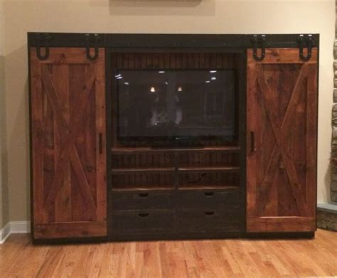 Reclaimed Barn Wood Entertainment Cabinet With Sliding Barn Door Media Center