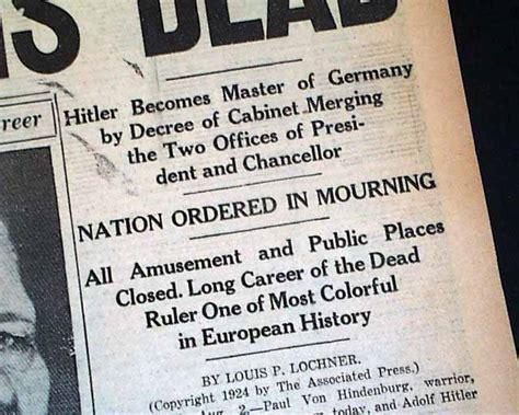 Paul Von Hindenburg R Newspapers M