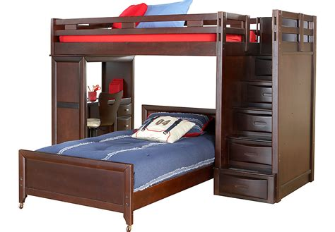 bunk beds rooms to go ivy league cherry twin twin step loft bunk with desk