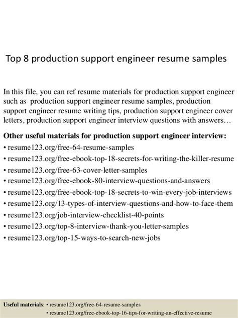 production engineer resume sles top 8 production support engineer resume sles