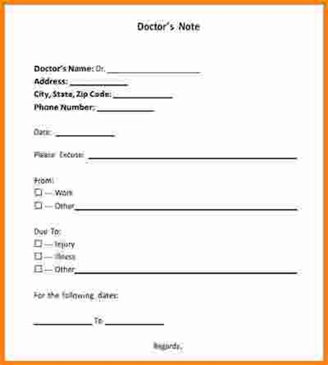 Sle Excuse Letter For Kindergarten Free Doctor Note Template For Work 28 Images Doctor Note Templates For Work 8 Free Sle Exle
