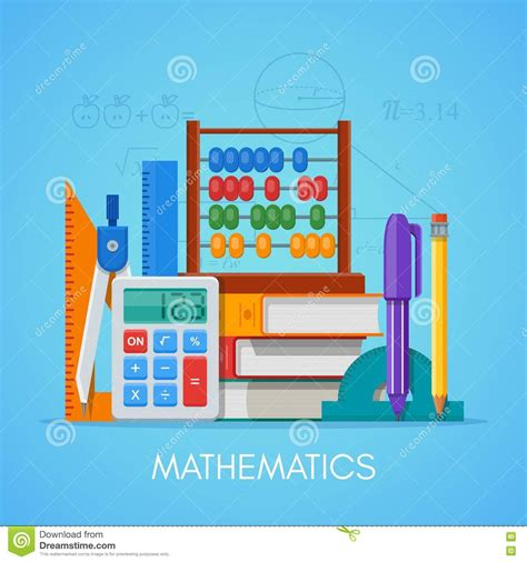 4 designer illustration style education math science education concept vector poster in flat style