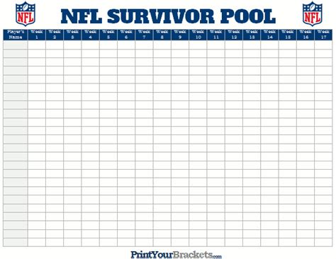 nfl pool template nfl survivor pool sheet printable football pool