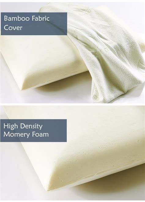 High Density Memory Foam Pillow - 2x high density memory foam bamboo fabric fibre cover