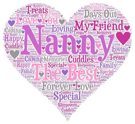 printable birthday cards nanny personalised word art print nan nanny nanna mum friend