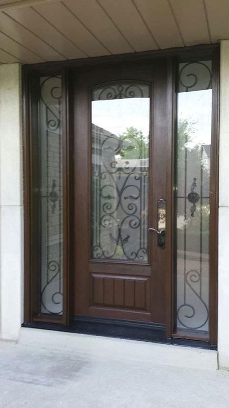 Exterior Doors Oakville Front Entry Wrought Iron Fiberglass Doors With 2 Side Lites Installed In Oakville 8 Foot Door