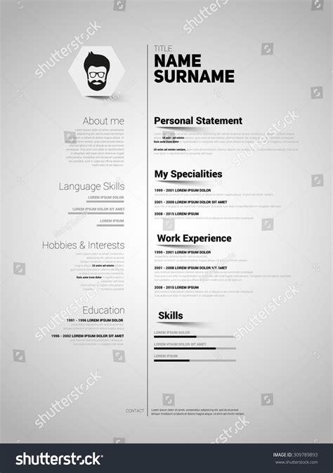 curriculum vitae minimalist design minimalist cv resume template simple design stock vector
