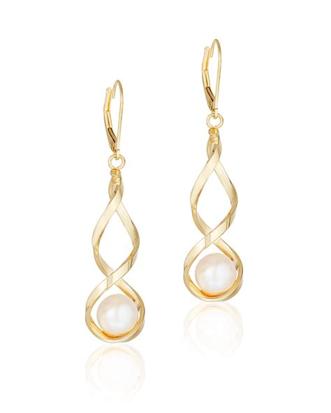 14k yellow gold dangle with pearl earrings