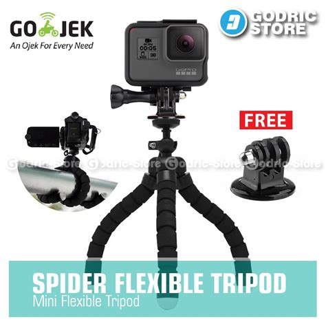 Mini Tripod Mount Adapter For Gopro Brica Xiaomi Yi Jual Beli Godric Spider Mini Tripod With Tripod