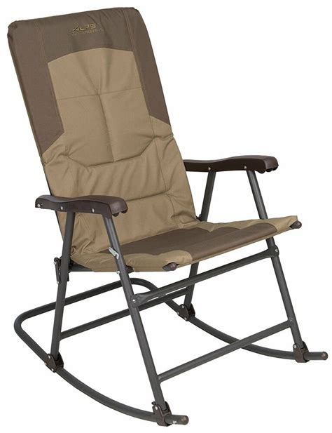 camping rocking chair outdoor folding travel camping steel frame patio furniture  ebay