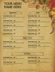 Word Template Menu by Design Templates Menu Templates Wedding Menu Food