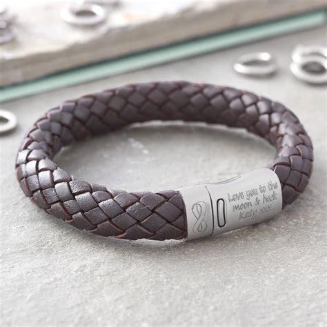 mens personalised brown leather bracelet personalised i you infinity s leather bracelet