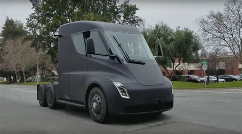 electric truck tesla semi watch the electric truck burn rubber by car