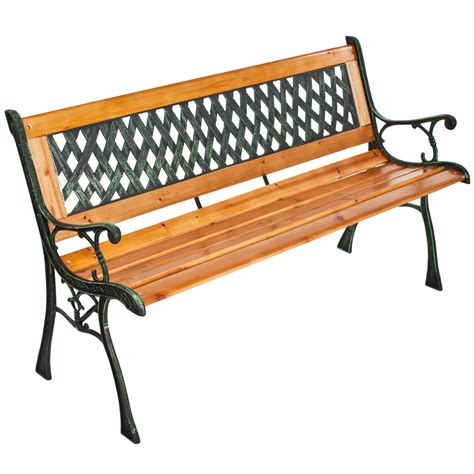 wood and wrought iron bench wooden garden bench seat with cast iron legs wood