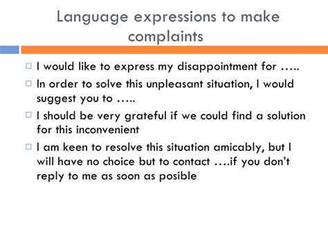 Complaint Letter Useful Phrases Letter Complaint