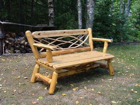 cedar log bench by buckfever14 lumberjocks com rustic cedar benches by dick barb cain lumberjocks