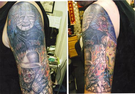 pain and pleasure tattoo 10 pinhead tattoos on half sleeve