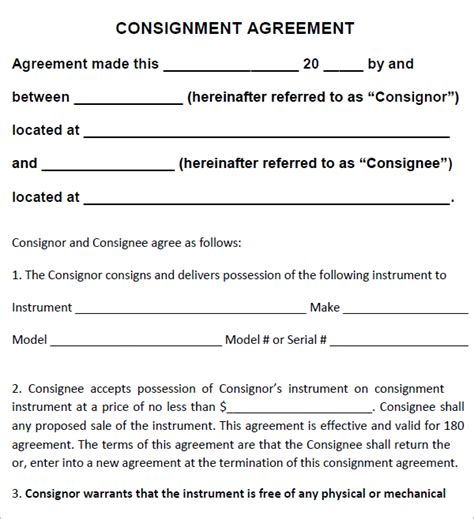 consignment store contract template top 5 free consignment agreement templates word
