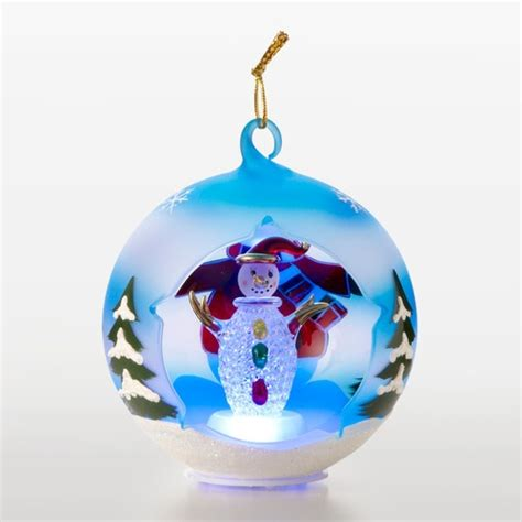 Sorelle Ornaments - quot winter quot bundled snowman blown glass globe