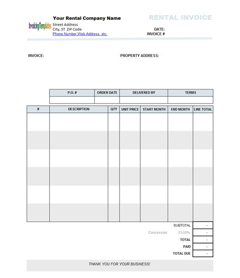 rental invoice template excel project management