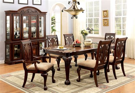 charity 7pc dining room set in cherry table chairs formal petersburg traditional style cherry finish formal dining
