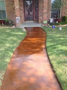 stained concrete walkway front deck ideas pinterest