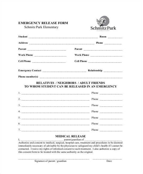 emergency room release form template sle emergency release forms 8 free documents in pdf