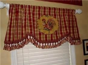 Rooster Curtains For Kitchen Chicken Decor Curtains And Tableclothes Rooster Curtains Kitchen On Scalloped Valance Curtain