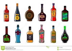 alkohol le liquor bottles set alcoholic beverages whiskey