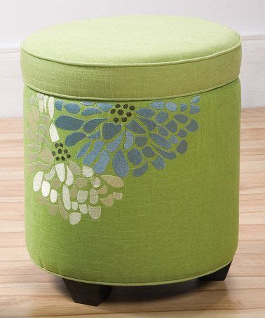 Lime Green Fresca Embroidered Sandy Wilson Storage Ottoman Lime Green Storage Ottoman