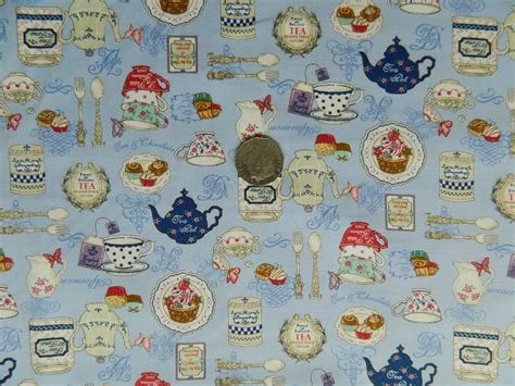 Kitchen Fabric by Country Quilting Fabric Kitchen Teapots Design Blue