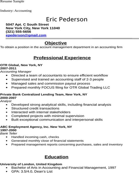 Resume Objective Exles Accounting Student Free Accounting Student Resume Sle For Doc Pdf