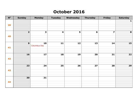 Blank October Calendar October 2016 Blank Calendar Printable Calendar Templates