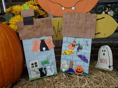 Paper Bag House Craft - paper bag haunted house craft fall