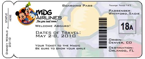 printable pretend disney tickets printable boarding pass template airline ticket envelope