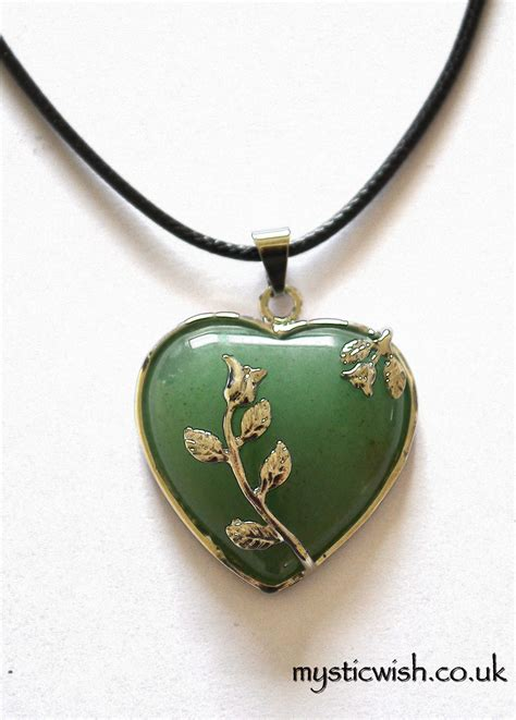 green aventurine pendant on black cord necklace