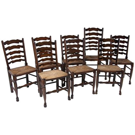 Ladder Back Dining Room Chairs by Set Of Eight Antique Ladder Back Oak Dining Chairs All