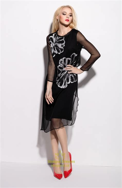 Print Sleeve Chiffon Dress black floral print sleeve chiffon overlay dress
