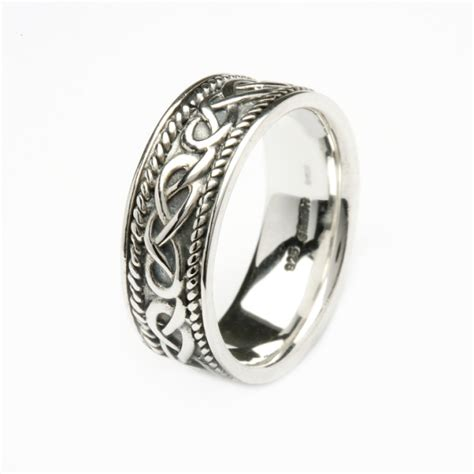 heavy silver gents celtic design ring