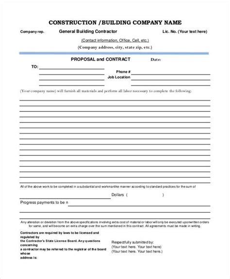 construction project proposal templates 6 free pdf