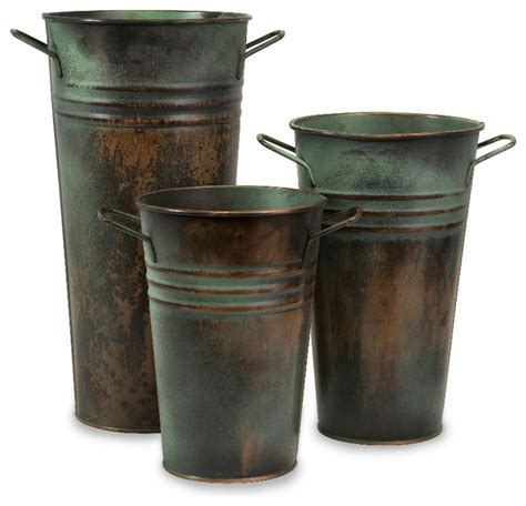 Rustic Vase by Leva Rustic Green Copper Finish Verdigris Vase Set Of 3