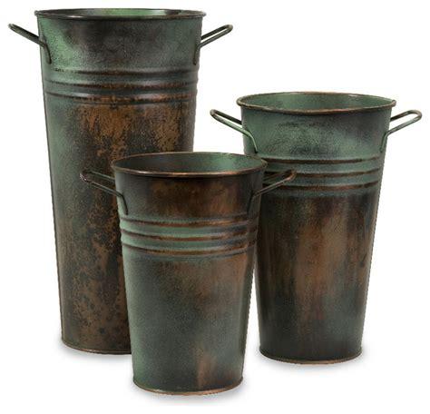 Leva Rustic Green Copper Finish Verdigris Vase Set of 3 Decor Imax   Farmhouse   Vases   by GwG