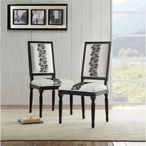 linon home decor linon home decor rose white and black square back chair