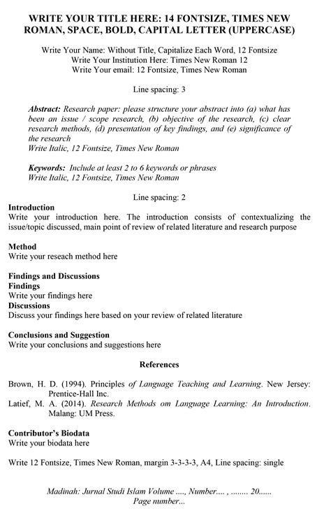 format artikel madinah jurnal studi islam