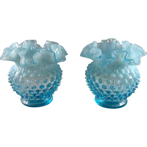 Blue Hobnail Vase 2 fenton blue opalescent hobnail vases 4 5 inches each from d4haley on ruby