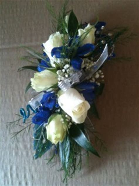 Wrist Corsage Fresh Blue/White Mix in Carmel, IN   LOVE AT